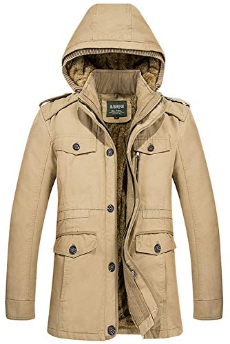 Adelina Men's Winter Thick Cotton Down Warm Jacket Cardigan Sweat Jacket Slim Fit Hooded Softshell Material Windproof Detachable Hood Jacket Khaki