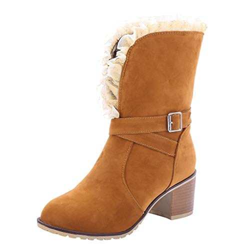 Women Mid Calf Boots Suede Block Heel Belt Buckle Cowboy Biker Booties Evening Party Shoes Lace Trim Heel 6cm ()