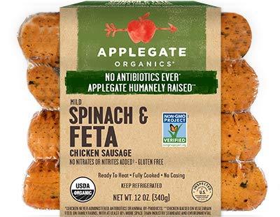 Applegate Spinach & Feta Chicken Sausage 12 Oz (4 Pack)