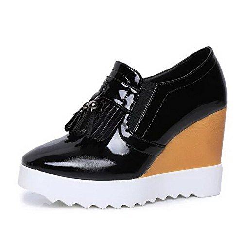 Vernice Alti Chiusi Punta Pompe Delle Solida Tirano Amoonyfashion Talloni Nero shoes Donne Rotondo RfZWw