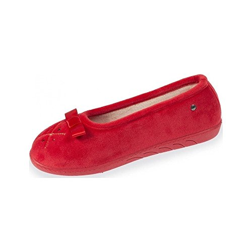 Isotoner Chaussons ballerines femme broderie et strass Femme Rouge MJ94GFVw5f