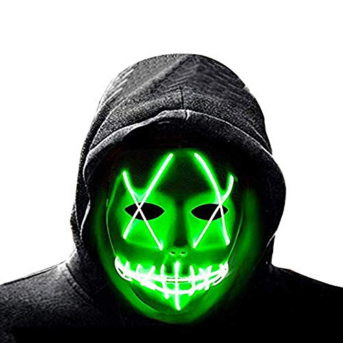 Led Light up Mask Halloween Scary Mask Cosplay Led Costume Mask EL Wire Light up for Festival Party Halloween Costumes Green
