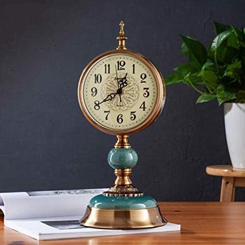 ヨーロッパの時計 - デスクトップ置時計リビングルームのクロックの装飾/ライト高級創造的なレトロな大きなミュートデスクトップ時計 (Color : A)