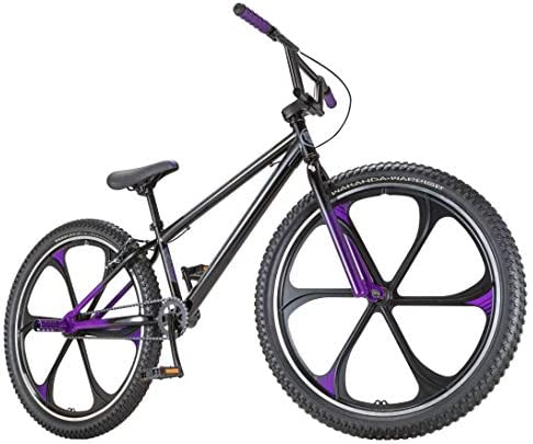 Black Panther Freestyle BMX Bike by Schwinn, Featuring Durable Steel Frame, Single-Speed Drivetrain, and 26-Inch Alloy Mag Wheels, Great for the Bike Park or Cruising the Neighborhood, in Black Purple