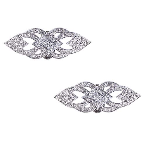 (ElegantPark DM Women Diamond Rhinestones Shoe Clips Decorative Jewelry Decoration Charms Wedding Party Accessories Silver 2 Pcs)
