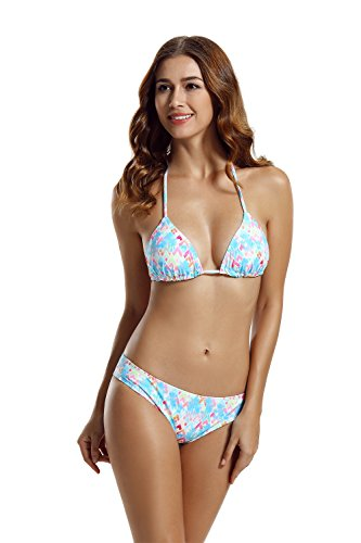zeraca Women's Hipster Panties Triangle Bikini Bathing Suits (XS2, Palms)