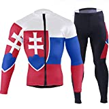 CHINEIN Men's Cycling Jersey Long Sleeve with 3 Rear Pockets Suit Slovakia Flag
