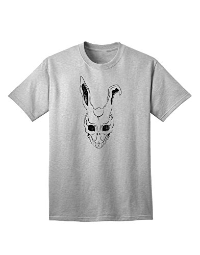 TooLoud Scary Bunny Face White Distressed Adult T-Shirt - AshGray - Large