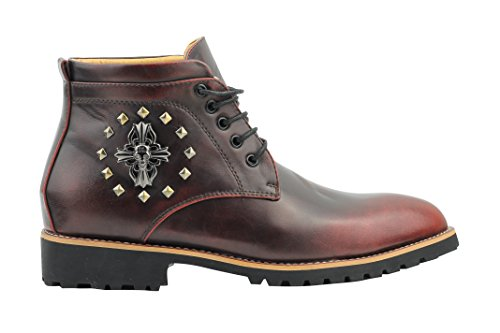 Xposed nueva–Botas de Piel Sintética Smart Casual Lace Up Zapatos de tobillo metal Emblema tamaño 67891011 Vino