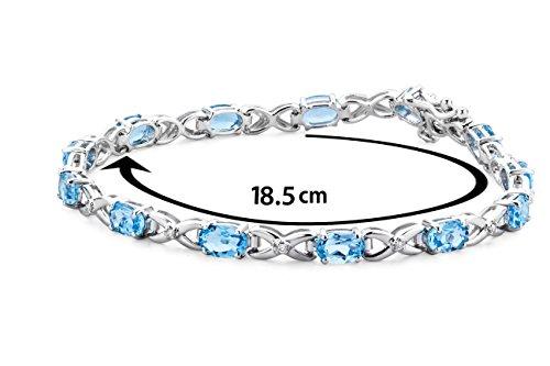Miore - SA964B - Bracelet Femme - Or Blanc 9 Cts 375/1000 7.0 Gr - Topaze bleue