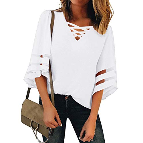 Women's V Neck Tops Mesh Panel Blouse 3/4 Bell Sleeve Casual Loose Top Shirt White ()