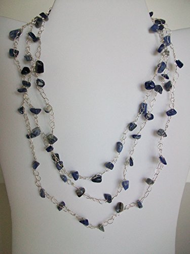 3 Strand Short Crocheted Silver and Blue Lapis Necklace