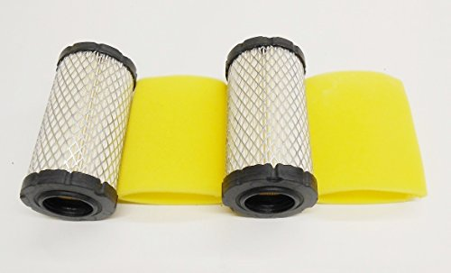 2 Air Filters Plus 2 Pre-Filters Replace Briggs & Stratton Air Filter 793569 Pre-Filter 793685. Also Same As John Deere GY21055, MUI11511, Mui11513 - Single Stratton