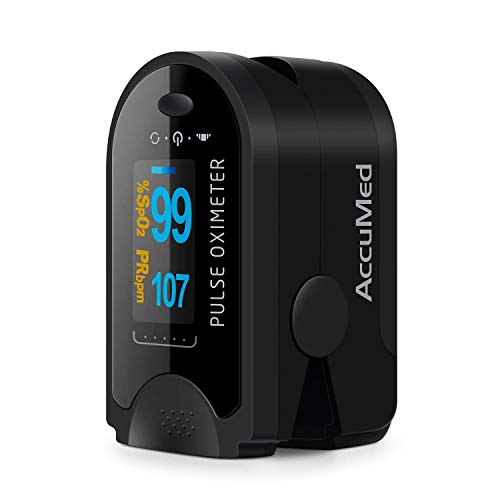 - AccuMed CMS-50D Fingertip Pulse Oximeter Blood Oxygen Sensor SpO2 for Sports and Aviation. Portable and Lightweight with LED Display, 2 AAA Batteries, Lanyard and Travel Case (Black)