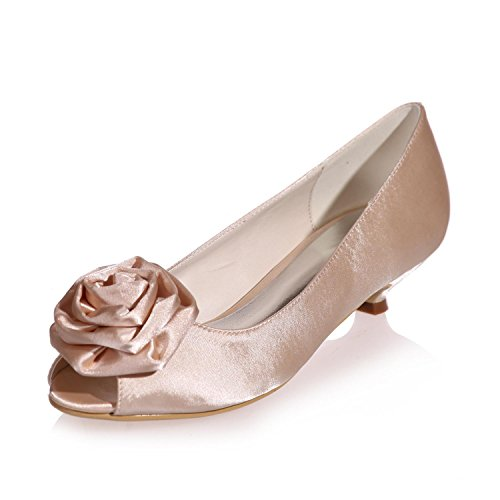 L@YC Women'S Wedding Shoes Silk Peep Toes 0700-15/Party Night Spring Summer Fall Winter & More available Colors Champagne WHqOO2