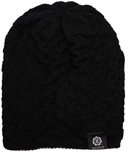 a462b4021 Zenco Men / Women's Winter Handcrafted Knitted Baggy Slouchy Beanie Hat  Black