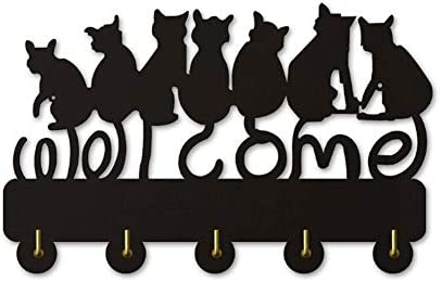 コートフック 黒猫のシルエット装飾的な木の壁ハンガー/子猫のコートラック/衣類フック/ウォールフック現代の家の装飾壁ステッカー(ロング:30センチメートル)
