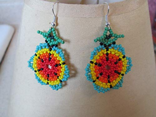 sunflower flower turquoise yellow orange red green floral hand beaded dangle earrings Native American style southwest huichol mexican folk art 3D style design beadwork