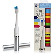 Violife Stylish Slim Sonic Electric Travel Toothbrush Set of 2 (Candy Stripe & Silver)