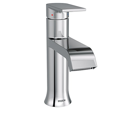 Moen 6702 Genta High-Arc Single-Handle Bathroom Faucet with Drain Assembly, (Widespread Handle Escutcheon)
