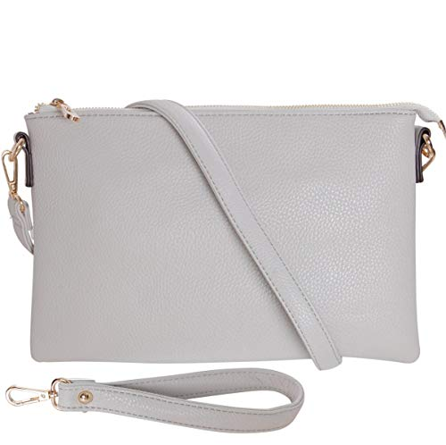 Humble Chic Vegan Leather Crossbody Tablet Purse - Convertible Travel iPad Wallet Pouch or Messenger Bag, Dove Grey, Light Gray ()