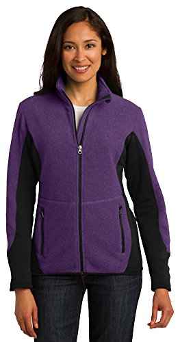 Port Authority Ladies R-Tek Pro Fleece Full-Zip Jacket, Purple Heather/ Black, X-Large
