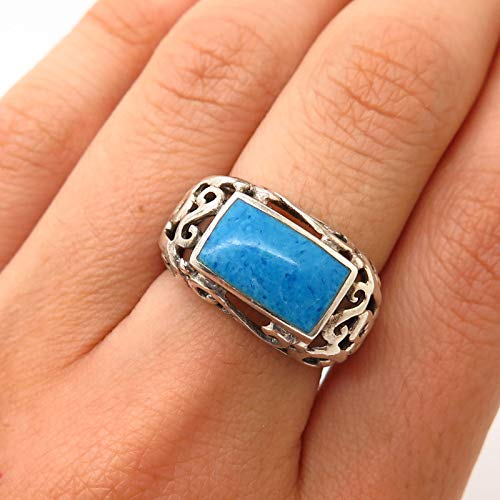 925 Sterling Silver Real Denim Lapis Lazuli Gemstone Ring Size 6 1/4 Jewelry by Wholesale Charms