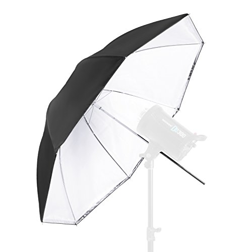 Neewer Convertible Photography Lighting Umbrella for Monolight Flash 45 inches/114.3 centimeters - White Satin with Removable Black Cover, Light Reflector and Modifier for Photo Studio Shooting by Neewer