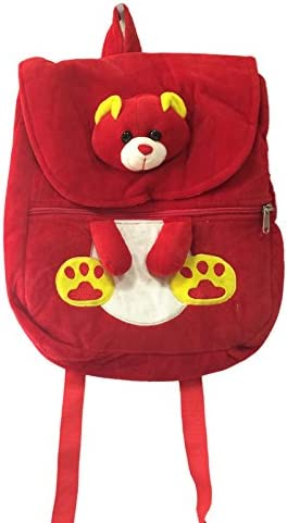 Ultra Felt Velvet School Bag with Teddy Soft Toy (Red)