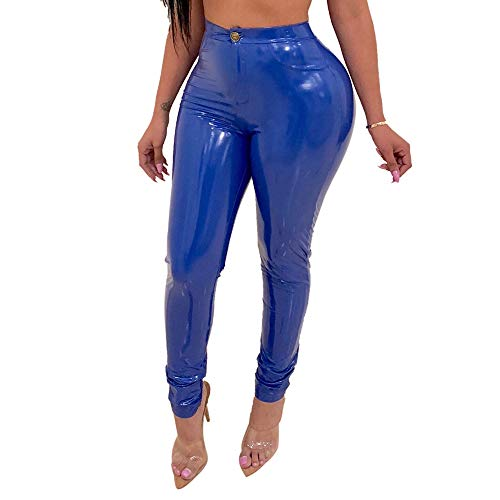Angelcoco Lady Bodycon Latex Pants Sexy High Waist Skinny Faux Leather Biker Coated Zipper Button Slim Fit Blue XLarge