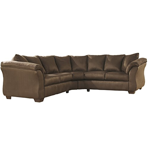 Flash Furniture Signature Design by Ashley Darcy Sectional in Cafe Microfiber  sc 1 st  Amazon.com : ashley furniture grey sectional - Sectionals, Sofas & Couches