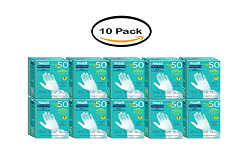 Ansell Vinyl Touch Gloves, S/M, 50ct, 10pack by Ansell