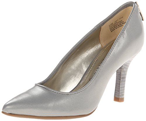 Anne Klein Womens Falicia Leather Dress Pump Grey