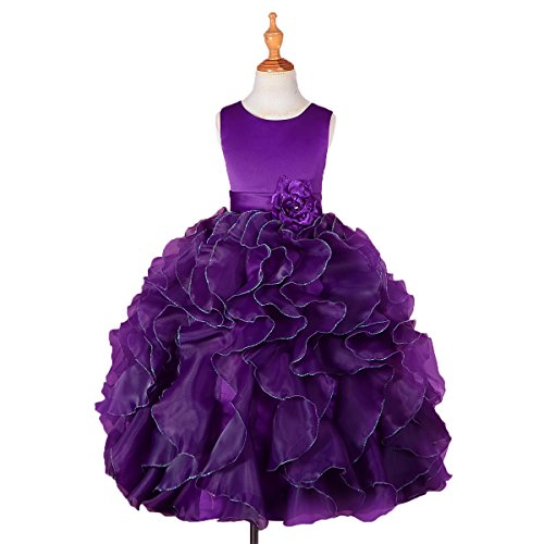 DRESSY DAISY Girls' Satin Organza Ruffle Flower Girl Dresses Pageant Gown Party Occasion Dress Size 10 Dark Purple -