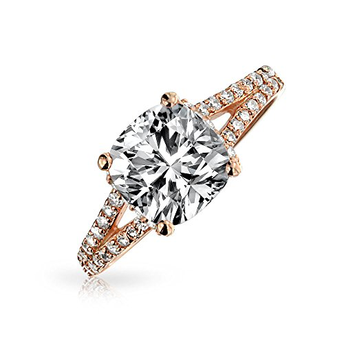 Bling Jewelry Sterling Silver Rose Gold Plated 2ct Cushion Cut CZ Engagement Ring,Pink,7 (2 Carat Cushion Cut Pave Engagement Ring)