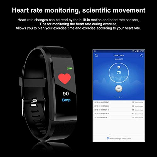 Tuloo I D 115 Plus Bluetooth Fitness Band Smart Watch Tracker with Heart Rate Sensor Activity Tracker Waterproof Body Functions Like Steps and Calorie Counter, Blood Pressure, OLED Touchscreen