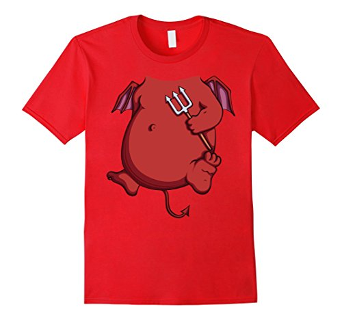 Mens Imp Costume T-Shirt for Halloween Devil Cosplay Tee Medium Red (Imp Costume)