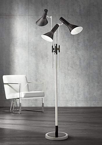 Possini Euro Halifax 3-Light Nickel and Black Floor Lamp - Possini Euro Design