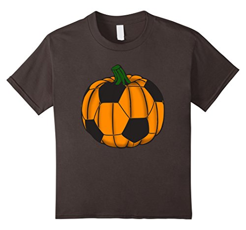 Kids Funny Pumpkin Soccer Sports Lover Halloween T-Shirt 4 Asphalt