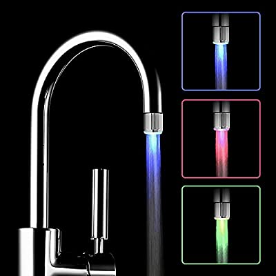 Temperature Sensitive 3-Color Gradient LED Water Faucet Light Water Stream Color Changing Faucet Tap For Kitchen and Bathroom