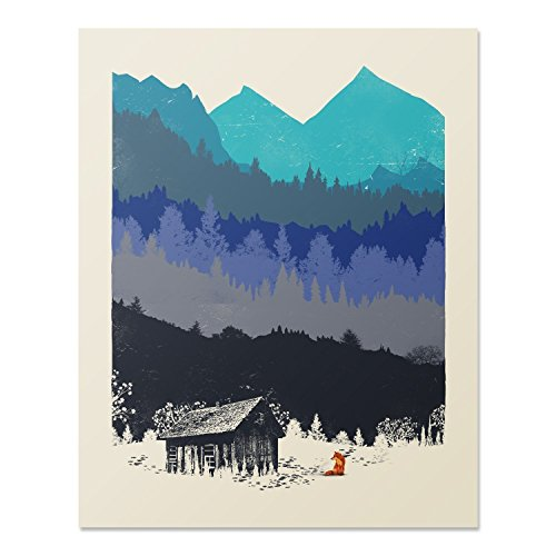 Wilderness Nature Lover Art Print Mountain Forest Outdoor Red Fox Rustic Cabin House Poster Home Decor 18 x 24 Inches