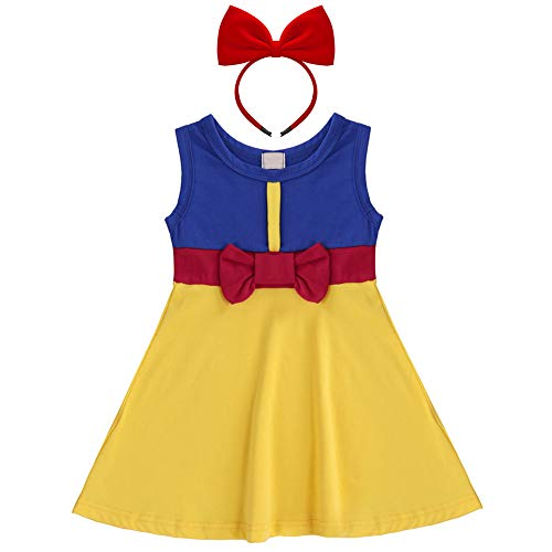 (Girls Princess Little Mermaid Snow White Dress Belle Minnie Ariel Kids Cosplay Birthday Party Cartoon Outfit Sleeveless Baby Yellow Dress up Playwear Clothes #Snow White & Headband 4-5)
