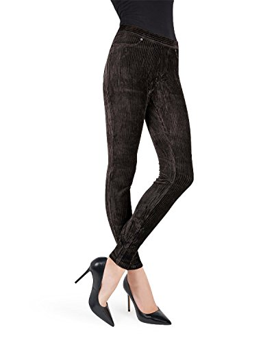 Cotton Rib Leggings - MeMoi Full Length Premium Wide Rib Corduroy Leggings Black Medium / Large