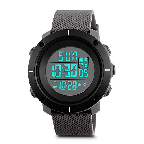 (MJSCPHBJK Mens Digital Sports Watch, Military Waterproof Watches for Outdoor Running with Stopwatch LED Screen)