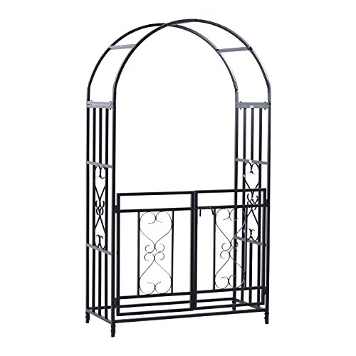 "Outsunny Metal Garden Arbor with Gate Outdoor Trellis for Climbing Plant, 45"" L x 20"" W x 81"" H"