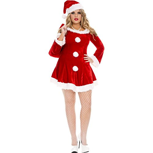 MUSIC LEGS Women's Plus-Size Sleigh Hottie Adult Sized Costumes, Red, Plus (Plus Size Sexy Santa Christmas Costume)