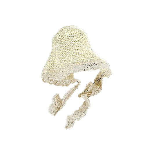 1pc Foldable Lace Straw Hat Sunhat Visor Hat Summer Beach Sunscreen Hat for Women Lady Girls,White]()