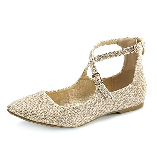 (Women's Adjustable Cross Ankle Strap Flats Casual Flat Shoes Gold Glitter 08)