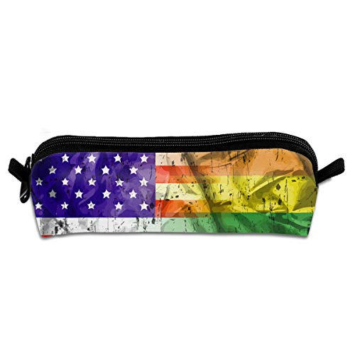Price comparison product image Rainbow USA Flag Gay Pride LGBT Pen Pencil Case Zipper Pouch Storage Bag