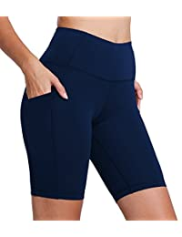 "FIRM ABS Women's 8"" High Waist Running Workout Yoga Shorts Half Tights w Pockets"